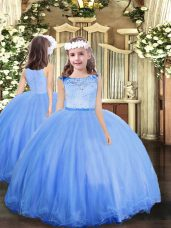 Glorious Blue Scoop Zipper Lace Little Girls Pageant Dress Sleeveless