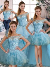 Ball Gowns Ball Gown Prom Dress Light Blue Off The Shoulder Organza Sleeveless Floor Length Lace Up