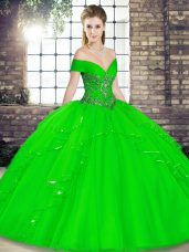 Decent Green Lace Up Sweet 16 Dresses Beading and Ruffles Sleeveless Floor Length