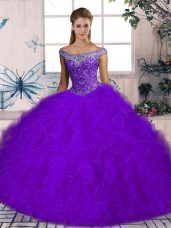 Attractive Purple Lace Up Off The Shoulder Beading and Ruffles Sweet 16 Dress Tulle Sleeveless Brush Train