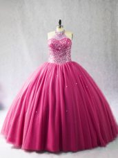 Luxurious Sleeveless Brush Train Beading Lace Up Sweet 16 Dress