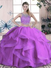 Sleeveless Tulle Floor Length Lace Up Quinceanera Dresses in Purple with Beading and Lace and Ruffles