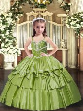 Olive Green Lace Up Straps Beading and Ruffled Layers Evening Gowns Taffeta Sleeveless
