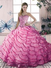 Pink Sleeveless Beading and Ruffles Floor Length Quinceanera Dress
