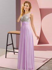 Lavender Side Zipper Quinceanera Court of Honor Dress Beading Sleeveless Floor Length