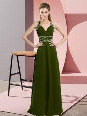 Olive Green Sleeveless Floor Length Beading Backless Prom Dress