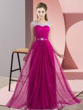 High Quality Fuchsia Empire Chiffon Scoop Sleeveless Beading Floor Length Lace Up Wedding Guest Dresses
