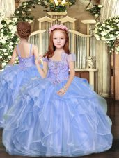 Blue Lace Up Straps Beading Little Girl Pageant Gowns Organza Sleeveless