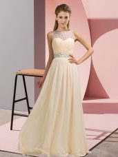 Glittering Floor Length Backless Prom Dresses Champagne for Prom and Party with Beading