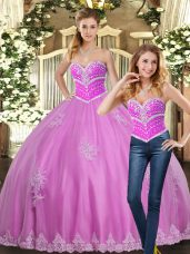 Fitting Sweetheart Sleeveless Tulle 15th Birthday Dress Beading and Appliques Lace Up