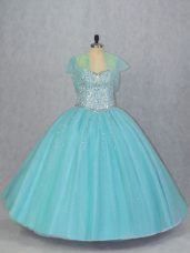 Aqua Blue Lace Up Sweet 16 Dresses Beading Sleeveless Floor Length
