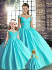 Clearance Floor Length Aqua Blue Quince Ball Gowns Off The Shoulder Sleeveless Lace Up