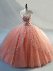 Sleeveless Lace Up Floor Length Beading Sweet 16 Dress