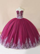 Traditional Burgundy Sweetheart Lace Up Embroidery 15th Birthday Dress Sleeveless