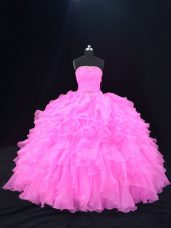 Strapless Sleeveless 15th Birthday Dress Floor Length Beading and Ruffles Pink and Rose Pink Organza