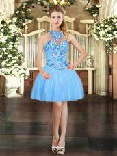 Dramatic Mini Length Aqua Blue Prom Homecoming Dress Tulle Sleeveless Embroidery