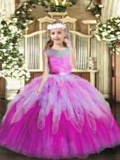 Super Scoop Sleeveless Lace Up Little Girl Pageant Dress Multi-color Tulle