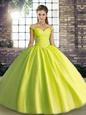 Yellow Green Ball Gowns Off The Shoulder Sleeveless Tulle Floor Length Lace Up Beading Sweet 16 Quinceanera Dress