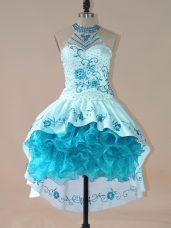Beauteous High-neck Sleeveless Lace Up Homecoming Dress Aqua Blue Satin and Organza