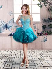 Mini Length Lace Up Party Dress for Toddlers Blue for Prom and Party with Beading and Ruffles