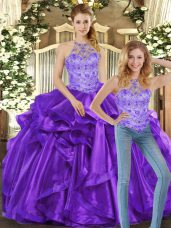 Glittering Purple Sleeveless Organza Lace Up 15th Birthday Dress for Sweet 16 and Quinceanera