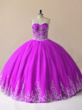 Floor Length Purple Quince Ball Gowns Tulle Sleeveless Embroidery