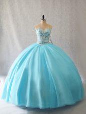 Sleeveless Floor Length Beading Lace Up 15th Birthday Dress with Aqua Blue