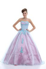 Free and Easy Sleeveless Organza Floor Length Lace Up Ball Gown Prom Dress in Light Blue with Appliques