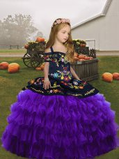 Purple Organza Straps Sleeveless Floor Length Little Girls Pageant Dress Wholesale Embroidery
