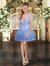 Lavender Strapless Neckline Beading and Lace and Appliques Sleeveless Lace Up