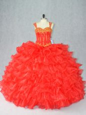 Fantastic Straps Sleeveless Quinceanera Dresses Floor Length Beading and Ruffles Red Organza