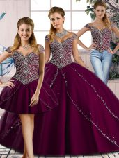 Sweetheart Cap Sleeves Quinceanera Dresses Brush Train Beading Purple Tulle