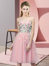 Pink Empire Appliques Dama Dress for Quinceanera Lace Up Tulle Sleeveless Knee Length