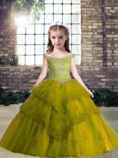 Custom Fit Olive Green Ball Gowns Tulle Off The Shoulder Sleeveless Beading and Appliques Floor Length Lace Up Party Dress for Toddlers