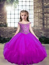 Fuchsia Lace Up Off The Shoulder Beading Little Girls Pageant Gowns Tulle Sleeveless