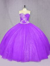Cheap Lavender Tulle Lace Up Sweet 16 Dresses Sleeveless Floor Length Beading