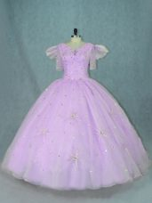 Hot Selling Sleeveless Floor Length Beading Zipper Quinceanera Dresses with Lavender