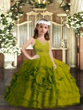 Superior Olive Green Sleeveless Floor Length Ruffled Layers Zipper Pageant Dress for Girls