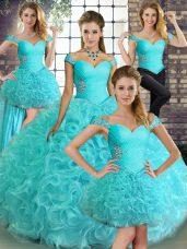 Best Aqua Blue Sleeveless Beading Floor Length 15th Birthday Dress