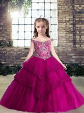 Custom Fit Fuchsia Lace Up Off The Shoulder Beading and Lace and Appliques High School Pageant Dress Tulle Sleeveless