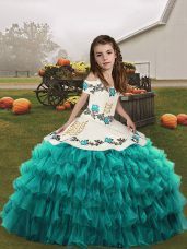 Floor Length Lace Up Casual Dresses Teal for Party and Military Ball and Wedding Party with Embroidery and Ruffled Layers