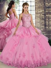 Traditional Floor Length Lace Up Sweet 16 Dresses Rose Pink for Military Ball and Sweet 16 and Quinceanera with Lace and Embroidery and Ruffles