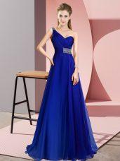 Chiffon Sleeveless Prom Dresses Brush Train and Beading