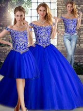 Clearance Royal Blue Lace Up Off The Shoulder Beading Ball Gown Prom Dress Tulle Sleeveless Brush Train