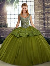 Olive Green Ball Gowns Beading and Appliques Quince Ball Gowns Lace Up Tulle Sleeveless Floor Length