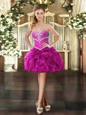 Sweetheart Sleeveless Cocktail Dresses Mini Length Beading and Ruffles Fuchsia Organza
