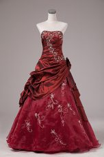 Best Selling Burgundy Sleeveless Organza and Taffeta Lace Up Sweet 16 Dress for Sweet 16 and Quinceanera