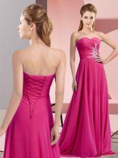 Fuchsia Sweetheart Neckline Beading and Ruching Homecoming Dress Sleeveless Lace Up