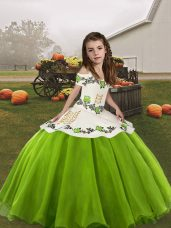Organza Straps Sleeveless Lace Up Embroidery Little Girl Pageant Dress in Green