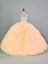 Hot Selling Peach Organza Lace Up Halter Top Sleeveless Floor Length Quinceanera Gown Beading and Ruffles